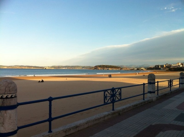 Sardinero Santander beach walking winter