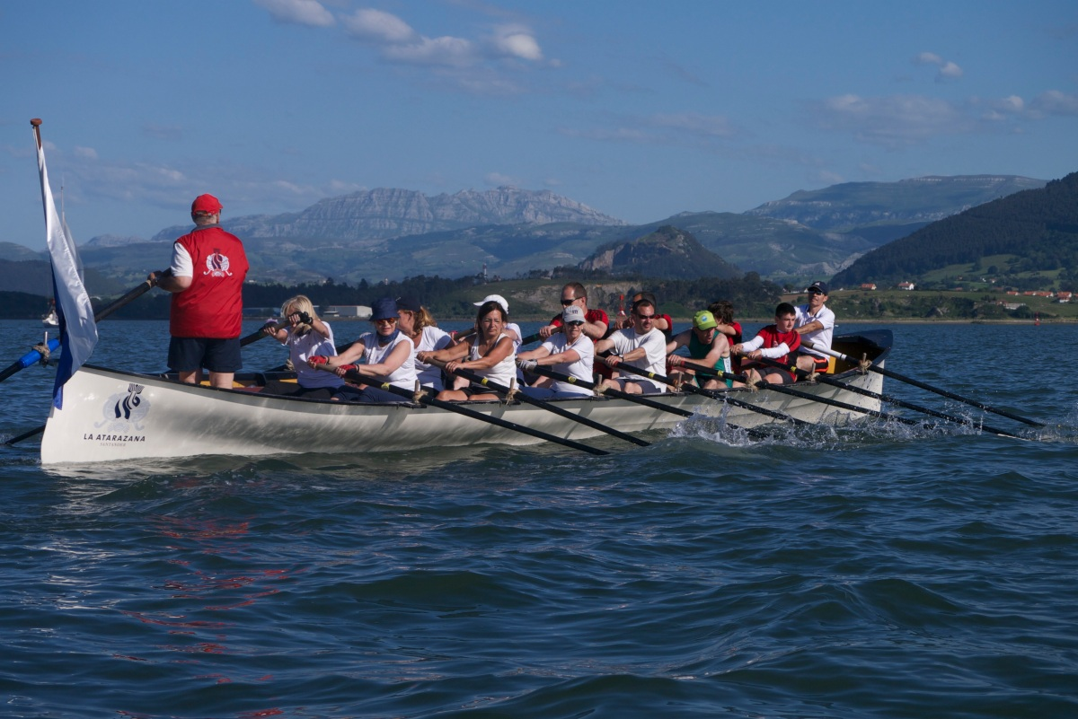 Rowing Traineras in Santander Bay